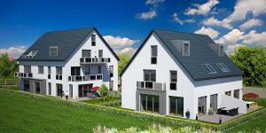 Praml Objektbau: Mehrfamilienhaus mit Eigentumswohnungen und Doppelhaus, Wüstensteiner Straße 15, München Aubing