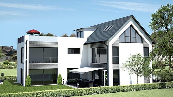 Praml Objektbau: Architektenvilla mit Carport, Hohenbrunn-Riemerling